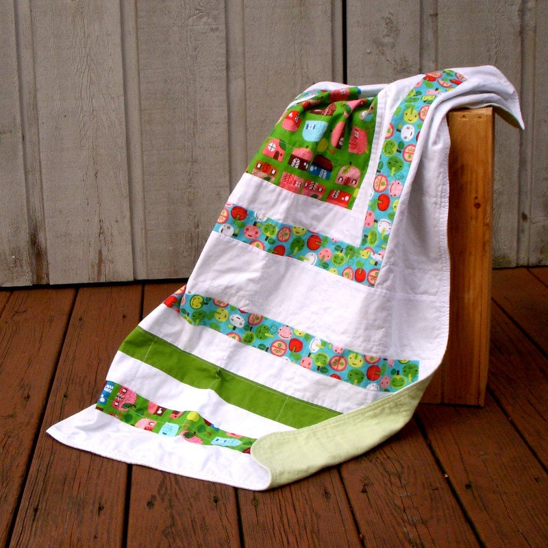 Baby Blanket Quilted Flannel Apples