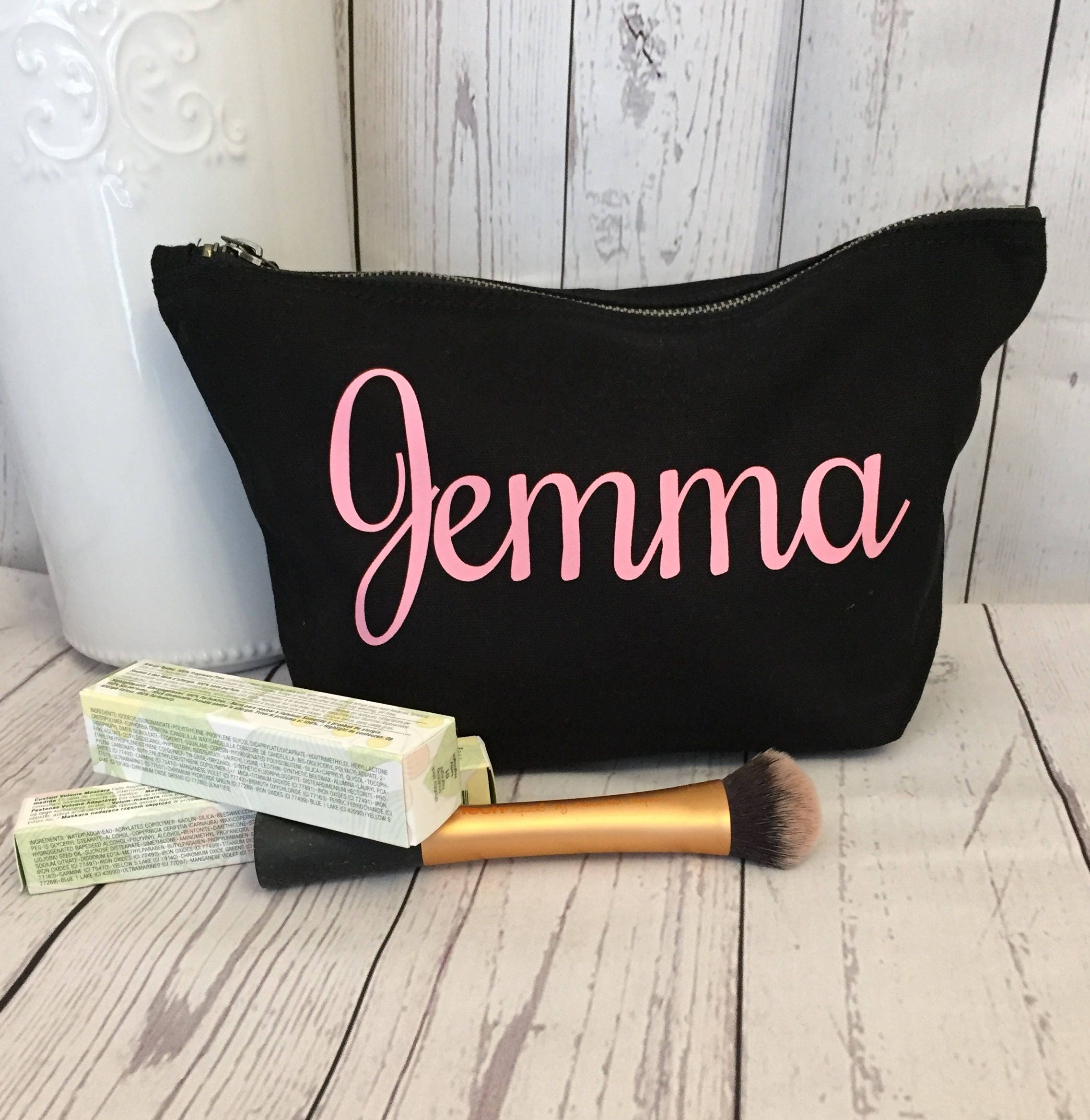 Personalised Make Up Bag (Black bag Choice of text colour) cosmetic bag