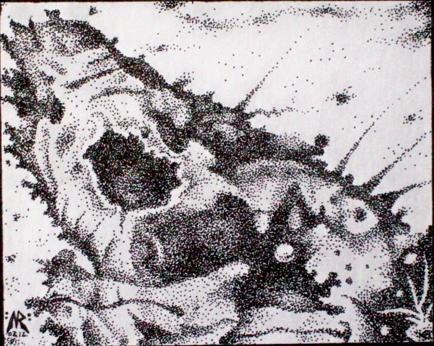 Some Sort of Creature (original stippled ink drawing) - NRarts