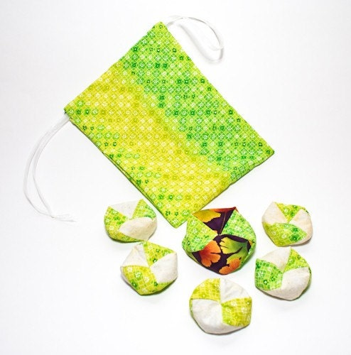 Otedama (Japanese Juggling and Jacks Game) Geometric Flowers and Ginkgo Set