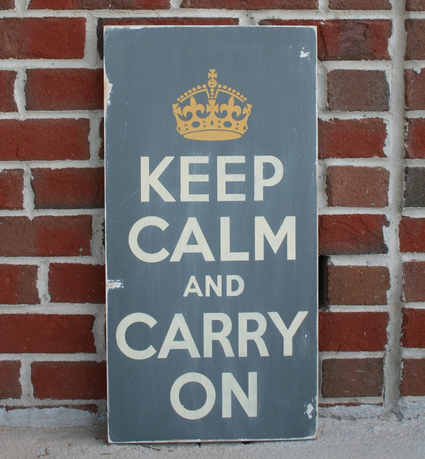 Keep Calm and Carry On - Large Distressed Sign in Charcoal Gray with Cream and Golden Straw Yellow