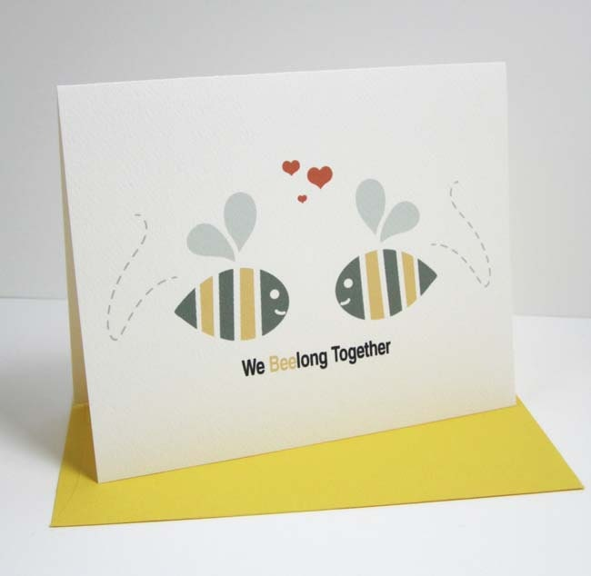 Love Card Anniversary Blank Recycled Paper A2 - We Beelong Together - maddesign