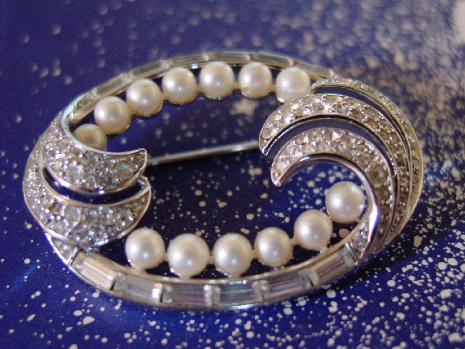 Crown Trifari Pearls and Diamonds Rhinestone Brooch