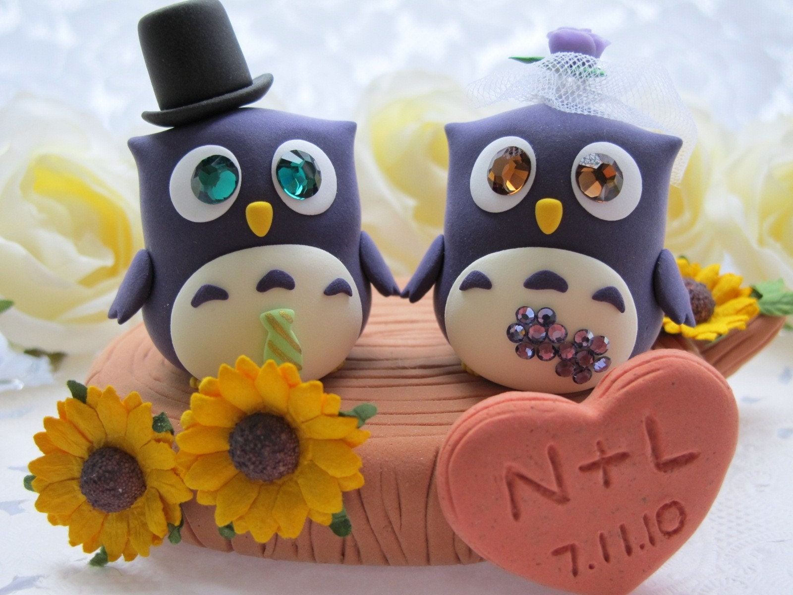 LOVE ANGELS Wedding Cake Topper-love Owls with stump