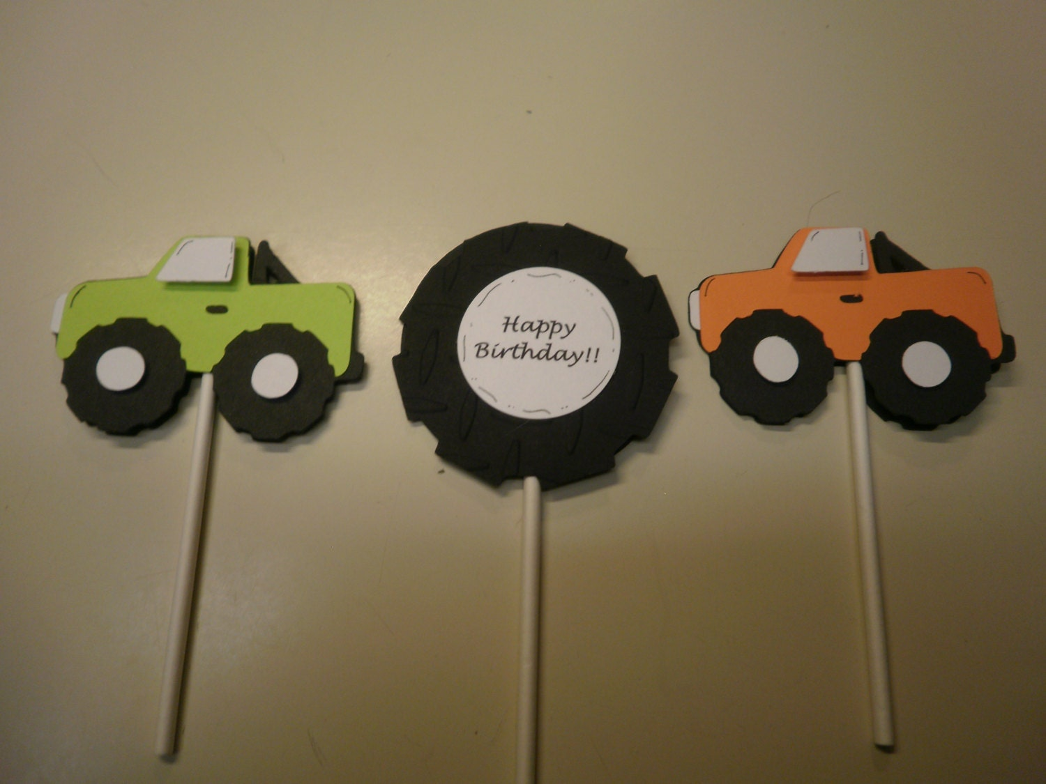 Monster Truck Cupcake Toppers by whimzypartycreations on Etsy
