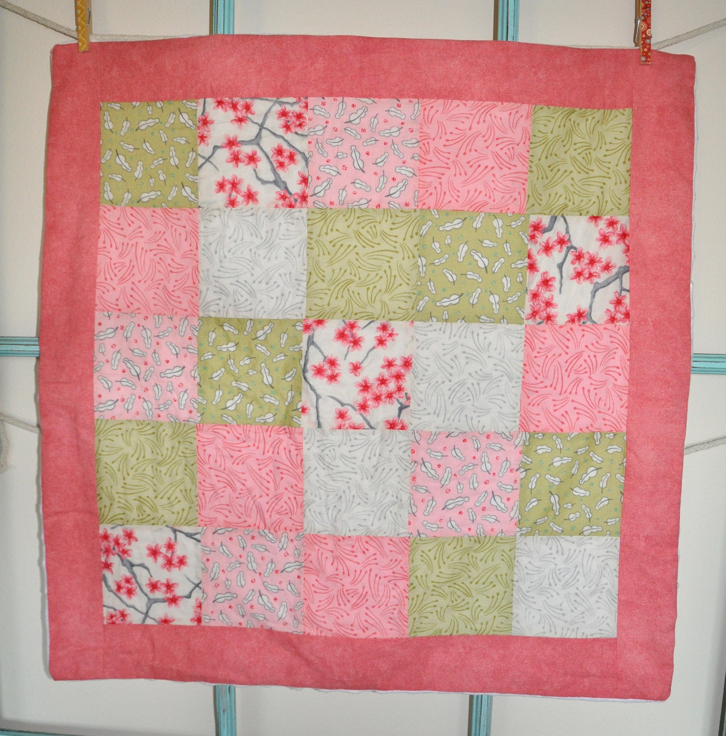 "Car Seat Quilt - 28"" x 28"" - Cherry Blossom Pink"