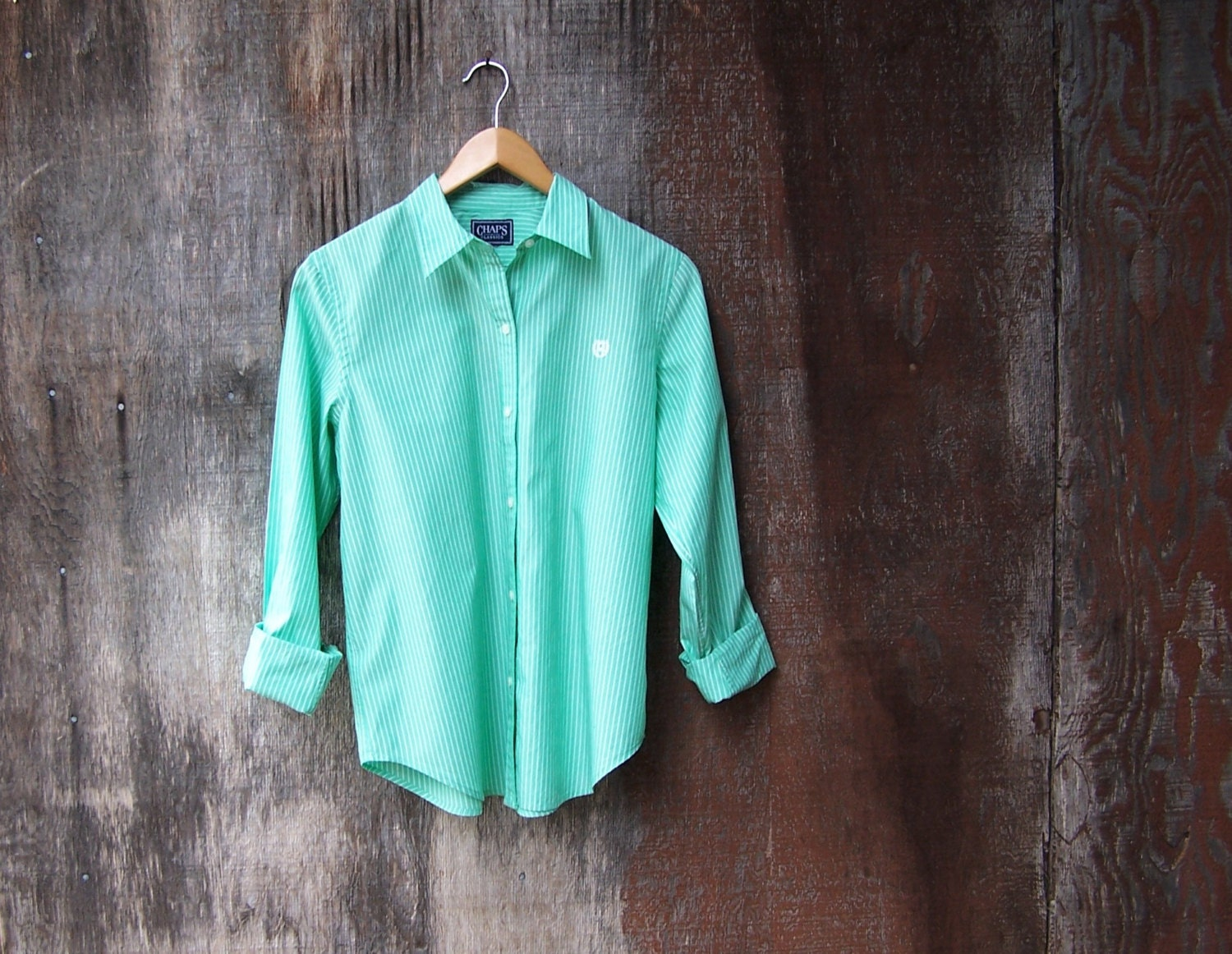 Cool Mint Green Striped Oxford Button Down Long By