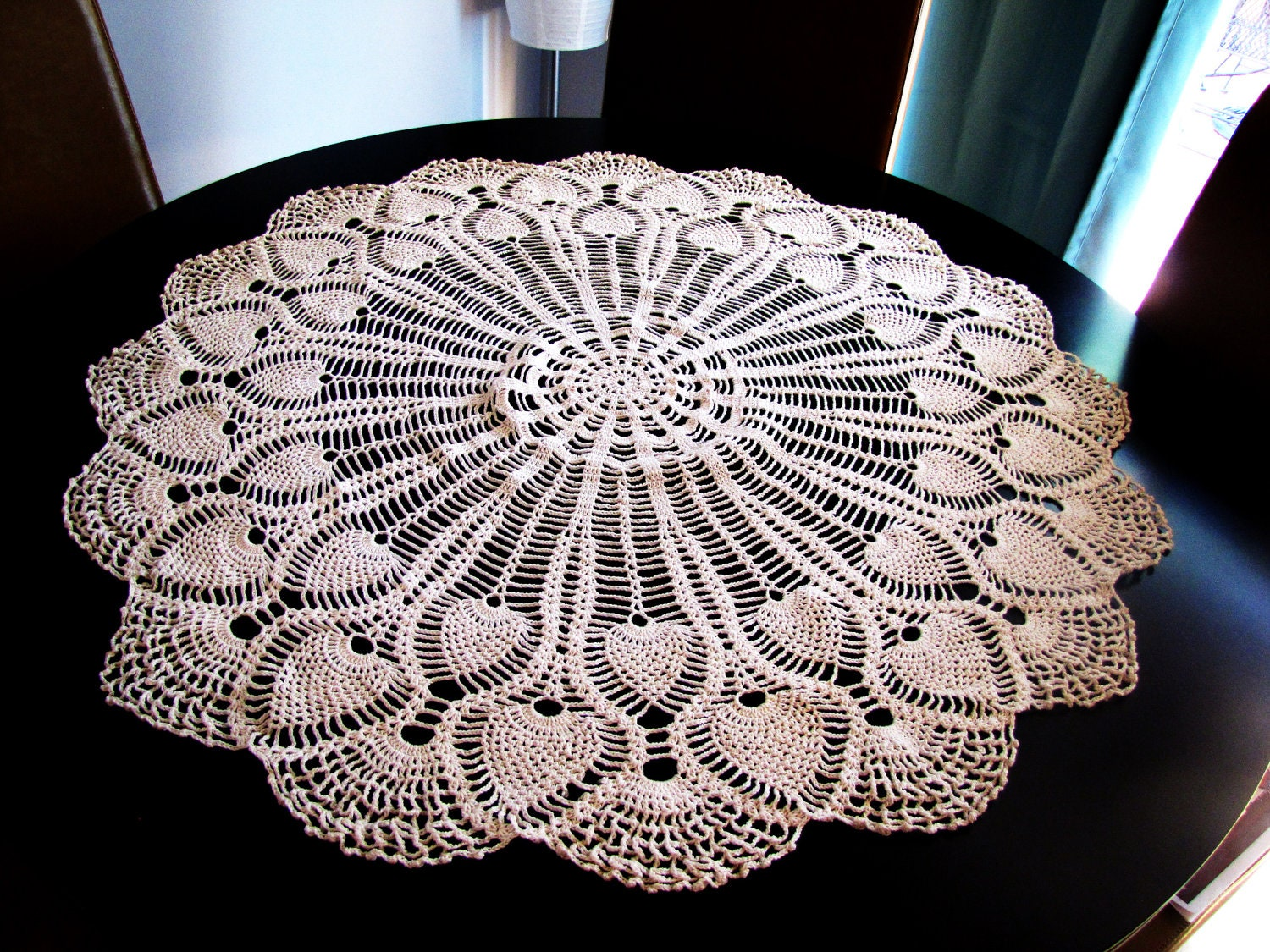 vintage round crochet cream table topper. by VintageTins ...