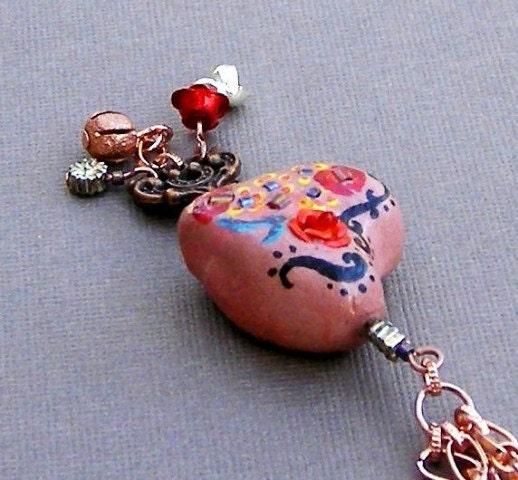 clay heart shaped pendant,