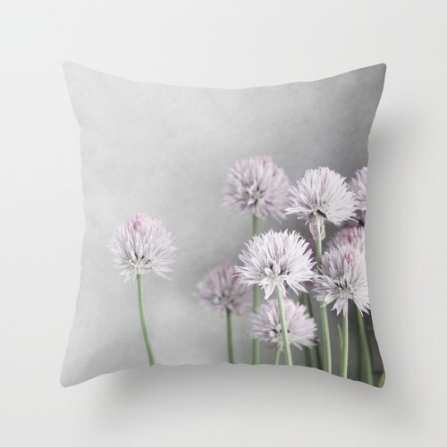 Throw Pillow Cover - Lavender and Green Chives on Gray - BrookeRyanPhoto