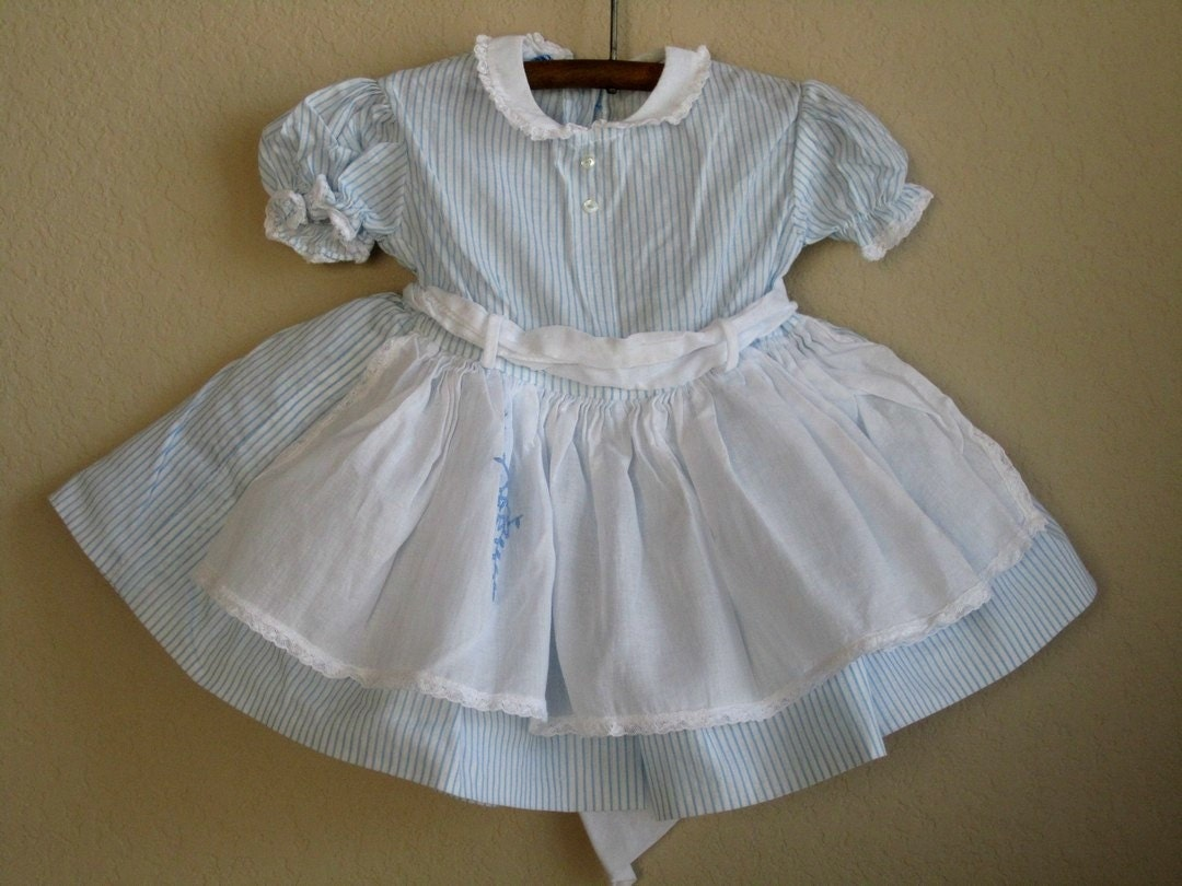 vintage baby dress with apron 1960s 6 months by oliversforest