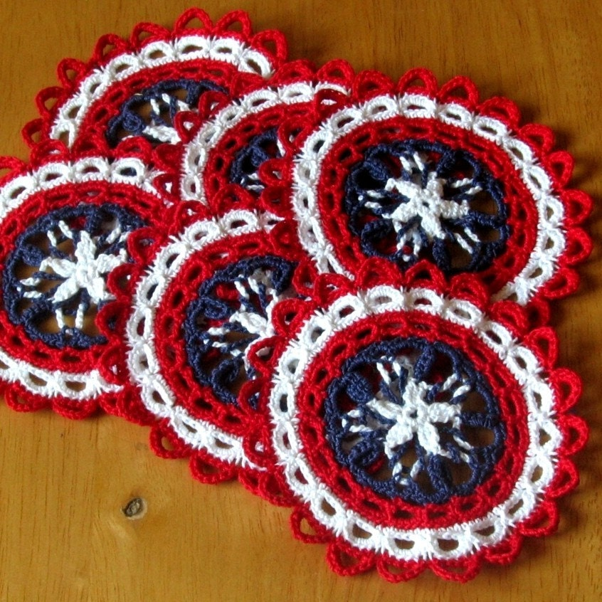 Americana Star Coaster Set, Fiber Art, Celtic Woven Crochet, Trinket, Doily, Reversible