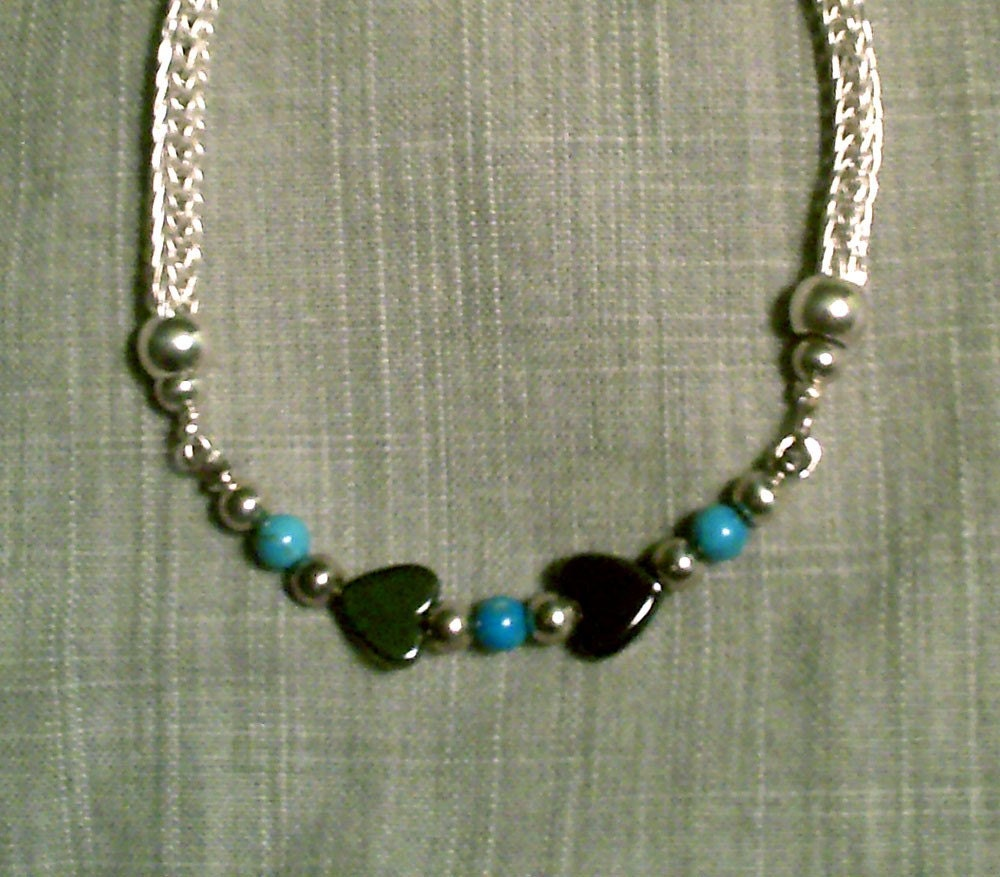 DoLoBo Viking Colection .999 Fine Knitted Silver with Turquoise and Hematite Bracelet - Medieval Dark Ages chainmaille for the QUEEN - FREE DOMESTIC SHIPPING