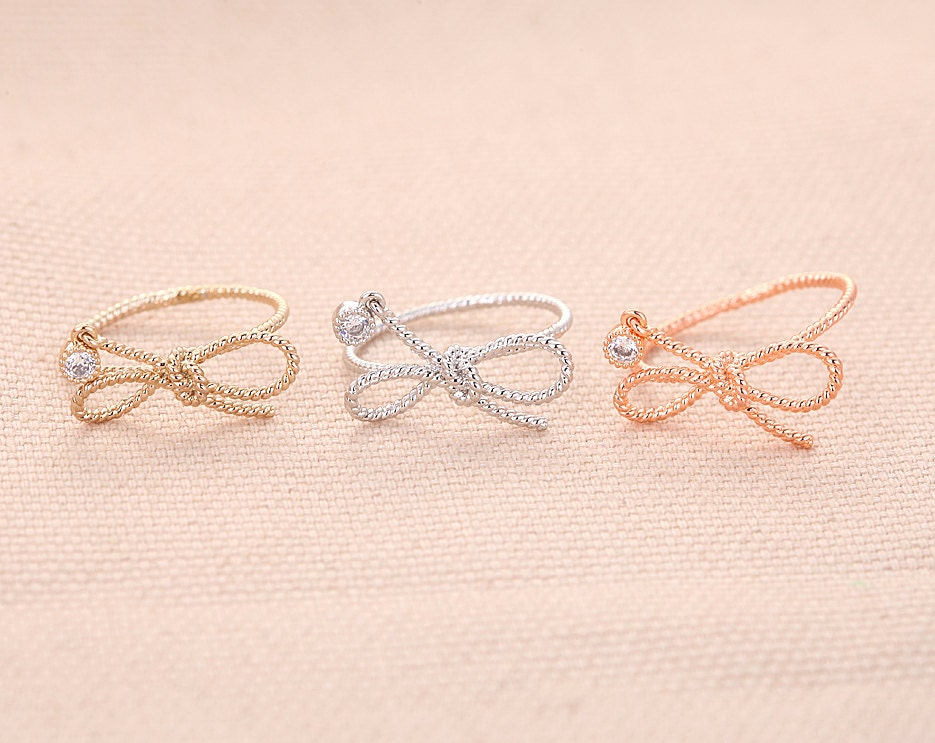 Twisted Ribbon Ring - Rose Gold // R048-RG // Ribbon ring,knot rings, jewelry rings,fashion rings, unique rings,rings for women