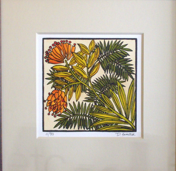 Linocut craftsman style art desert bloom by prairiebungalow for Craftsman style prints