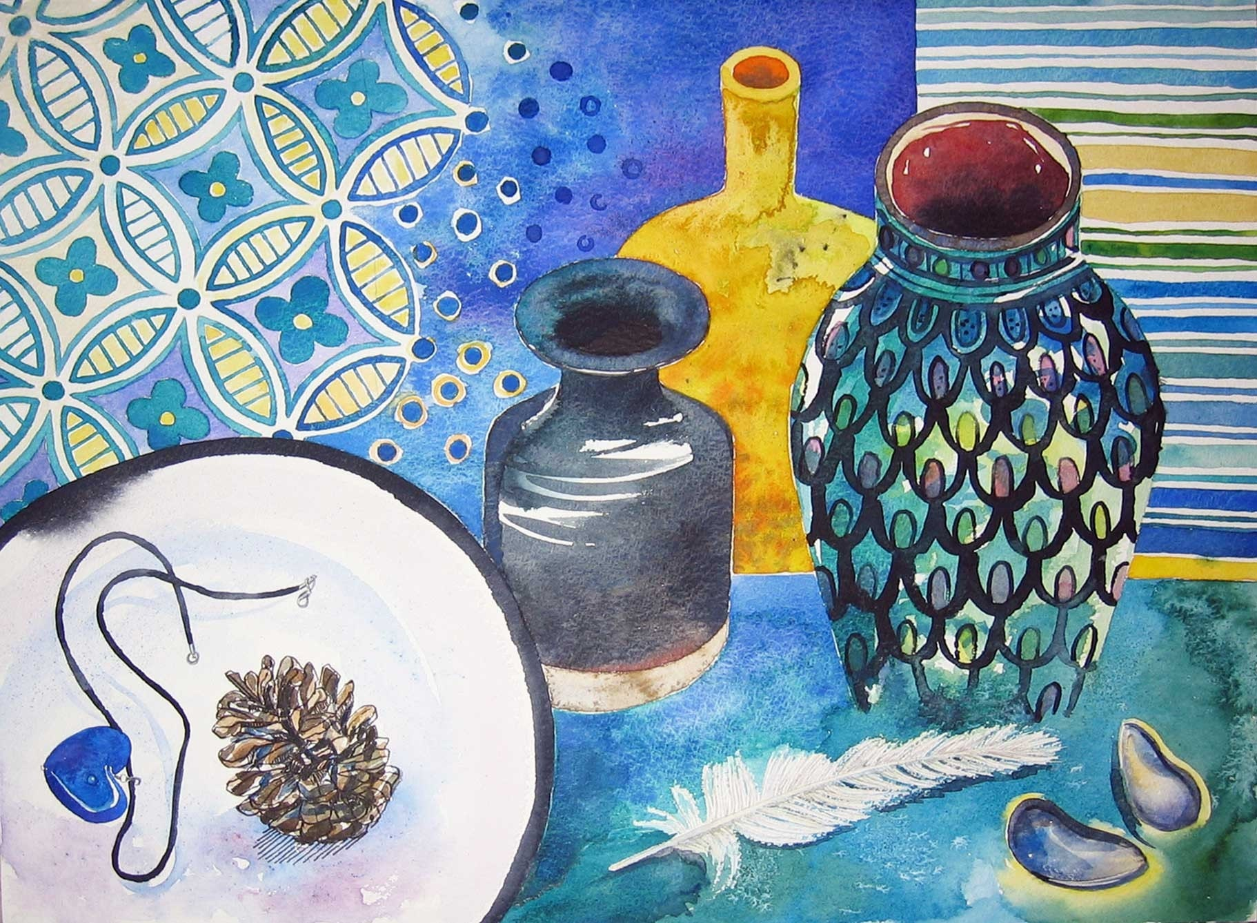 The Yellow Vase - Original Watercolour Painting