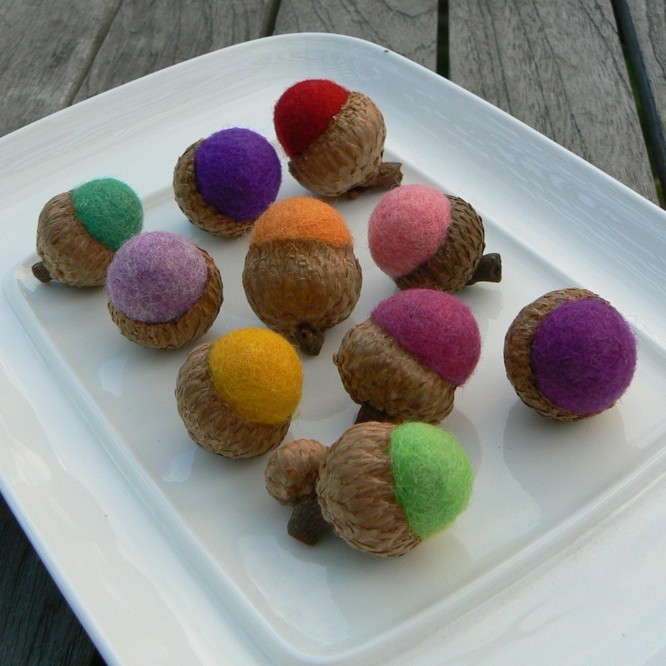 10 Candy Colored Felted Acorns - Waldorf inspired.