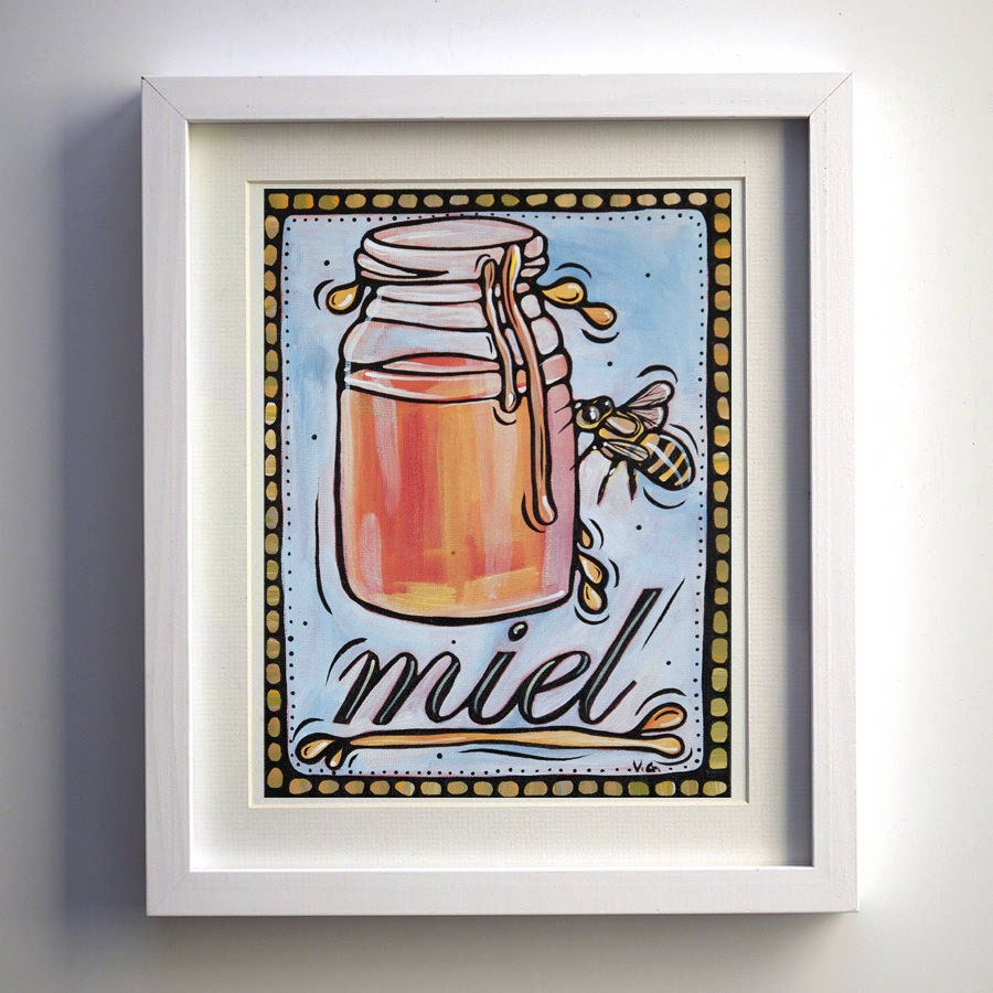 French Kitchen Decor Art Print Miel Honey Jar By