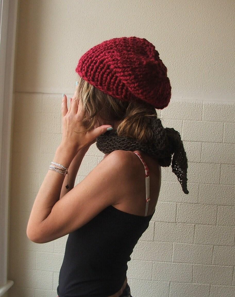 Velvet red chunky hat