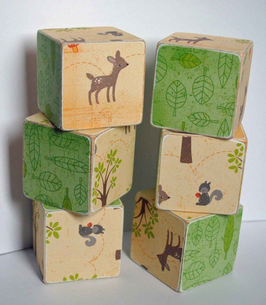 Woodland Whimsy Childrens Wooden Toy and Decor Blocks