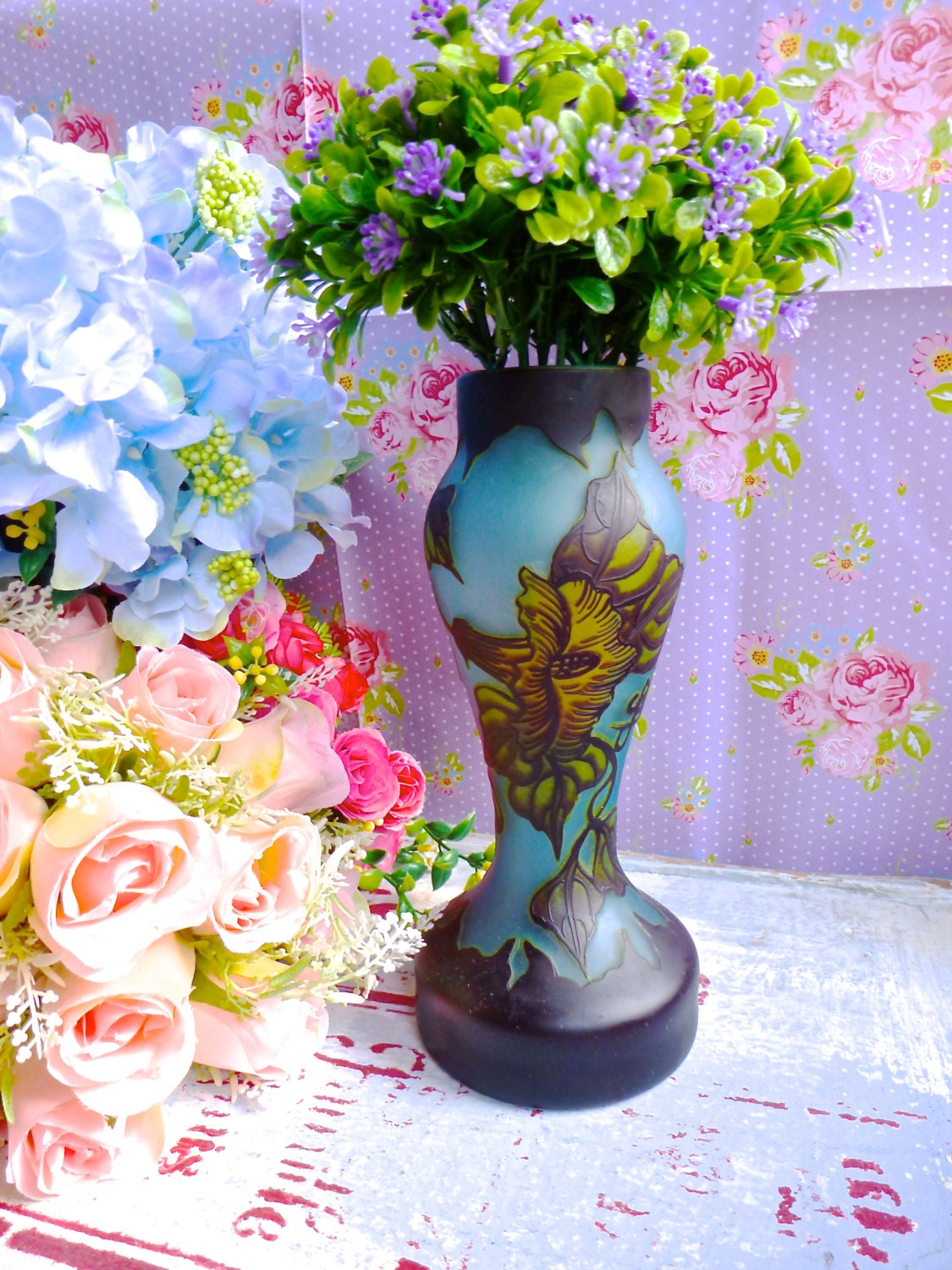 Galle Reproduction cameo art glass vase  Blue cameo glass vase  flower cameo glass vase  Galle Reproduction vase