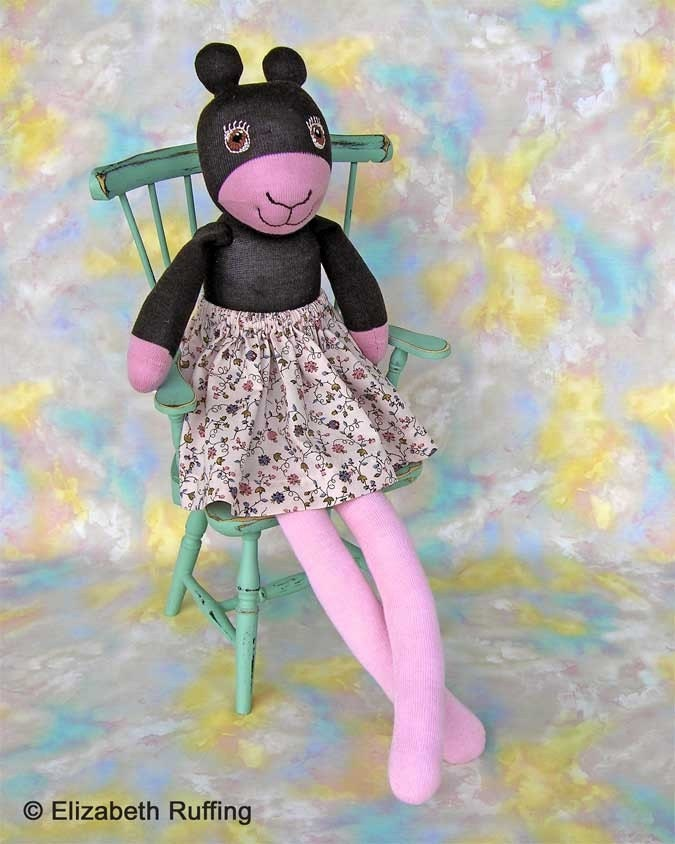 Annie the Antelope, Hug Me Sock Doll, Original One-of-a-kind Art Toy by Elizabeth Ruffing, Pink and Brown, Ready-made