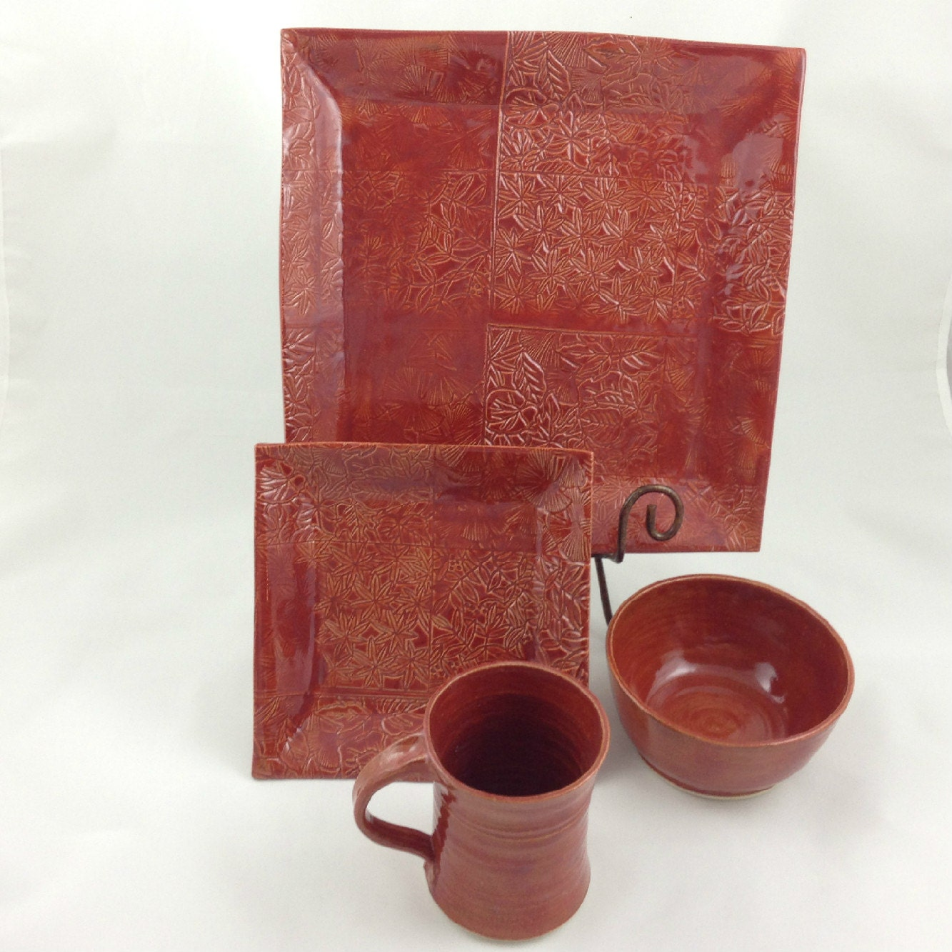 Cinnamon Red 4 Piece Place Setting Plate Bowl Mug Handmade Pottery by Daisy Friesen