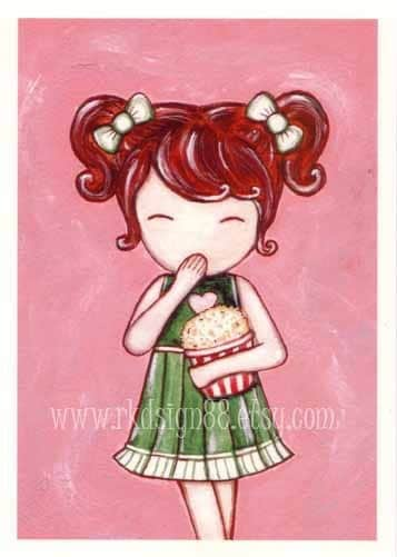 rkdsign88.blogspot.com etsy  popcorn painting fun illustration nursery drawing art print cute whimsical reproduction