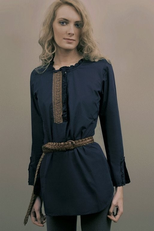 Navy Blue Long Sleeve Tunic with Copper Embroidery now on Sale