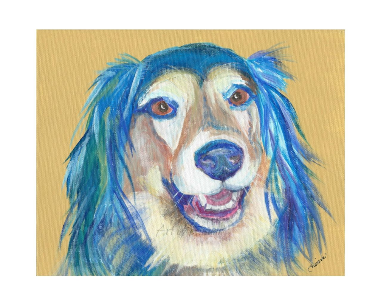 Long-haired Dachshund/Lab Mix -FREE U.S.A. Shipping - Dog Art -8x10 Art Print from original art- Dog Portrait - Dog Lovers -TAGT
