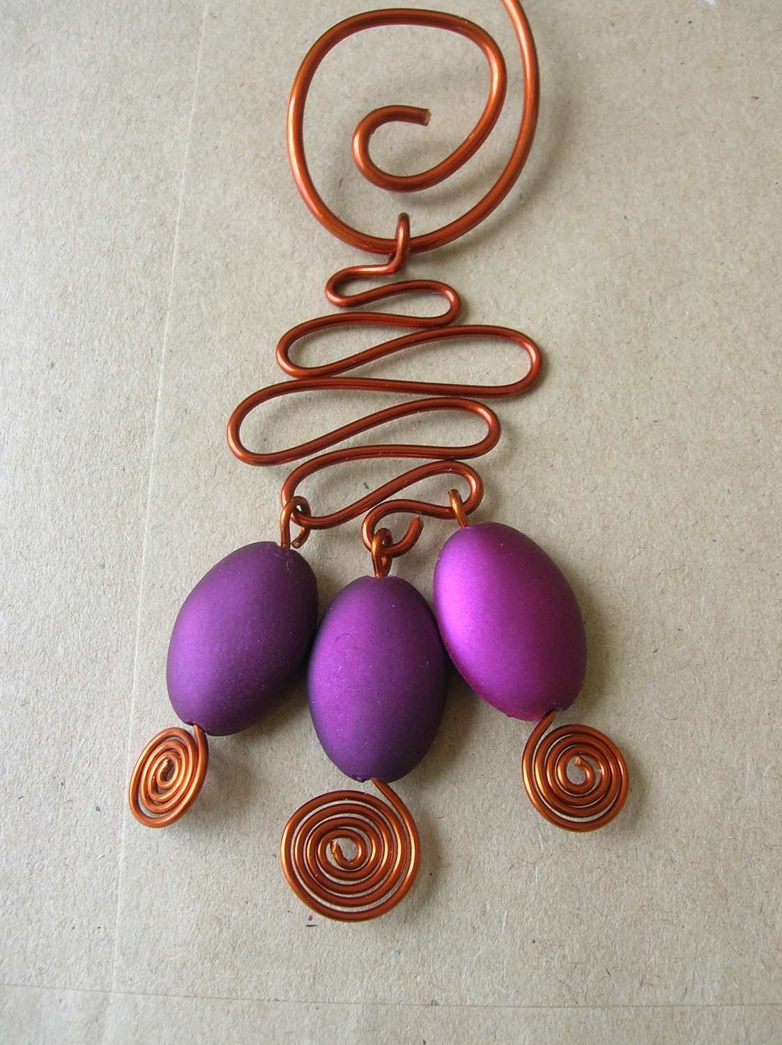 Set - Copper and Magenta Ovals - Necklace with Earrings