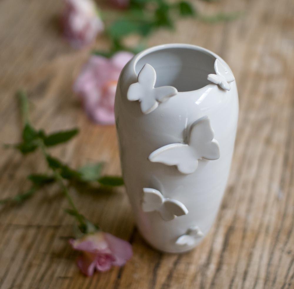 Five Butterflies Vase in White