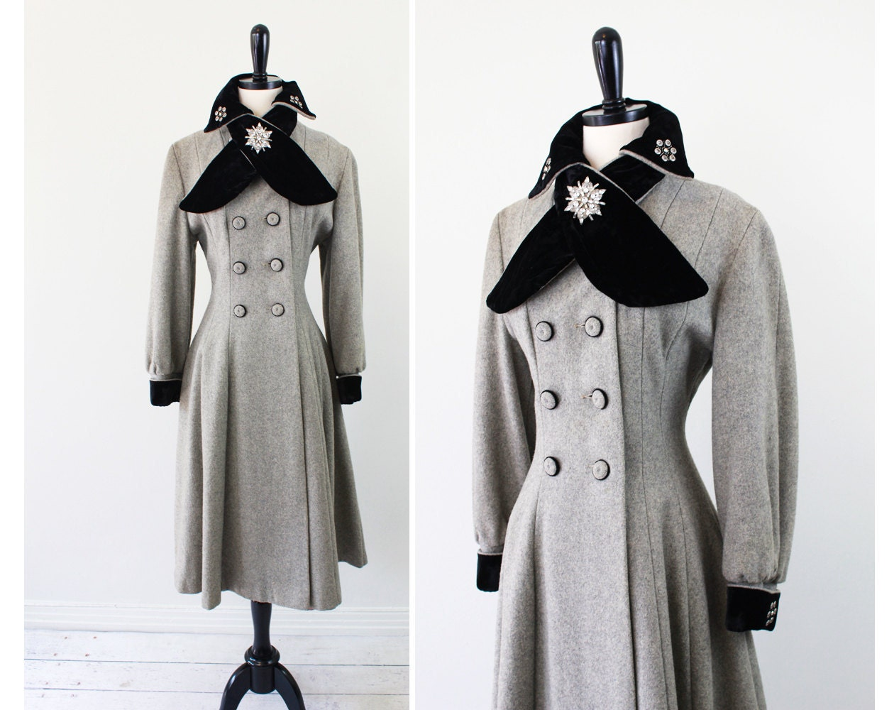 vintage 1950s 50s coat // Grey Wool Dress Coat with Black Velvet and Rhinestone Accents and Pink Lining