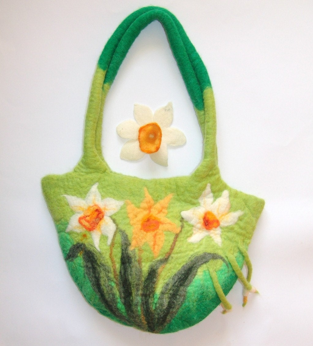 Felted handbag with flower brooch  daffodil