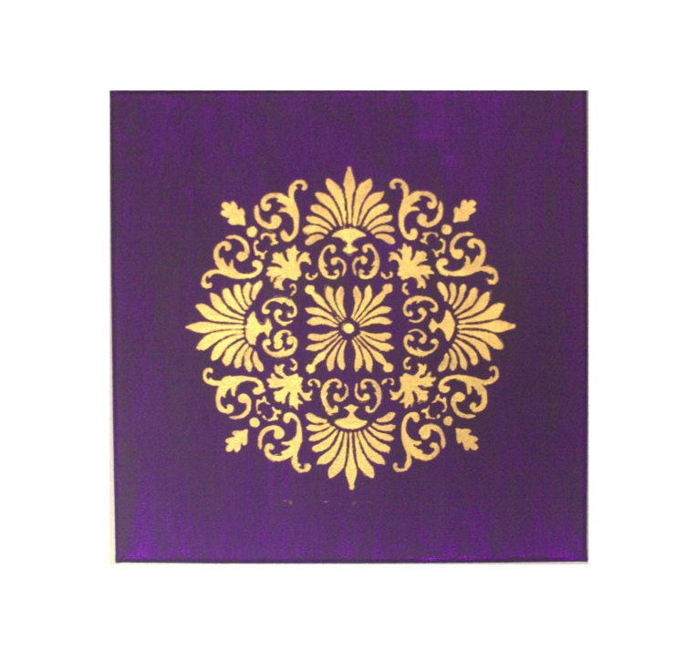 India inspired Painting with Deep Purple and Intricate Gold design - 12 inch by 12 inch canvas Acrylic painting. - amberwahbi