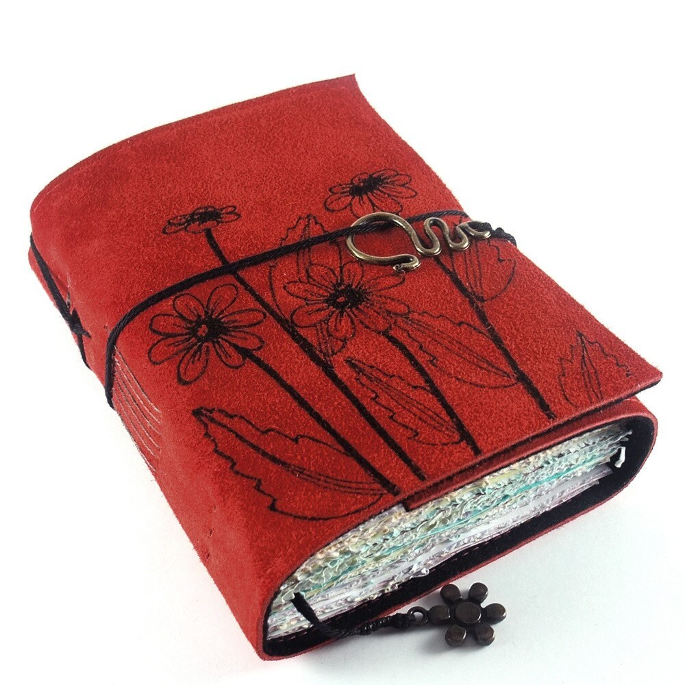 Red Daisies - Leather Journal, Book, Diary