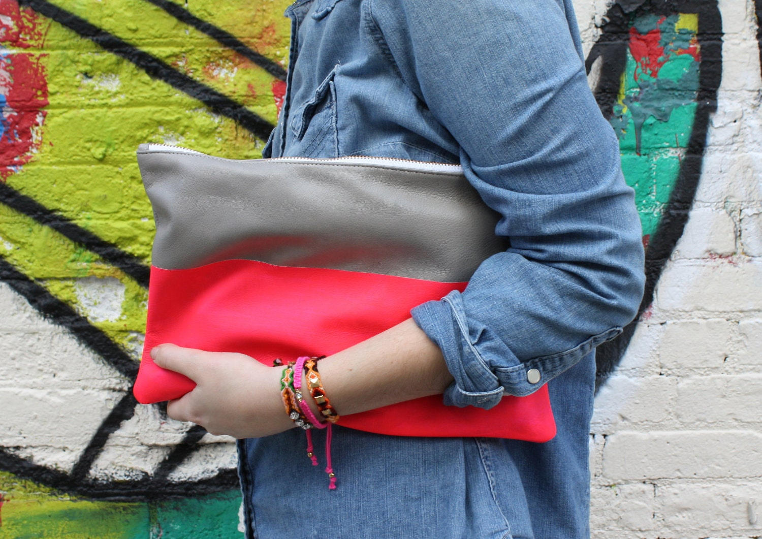 Neon Color Block Leather Clutch
