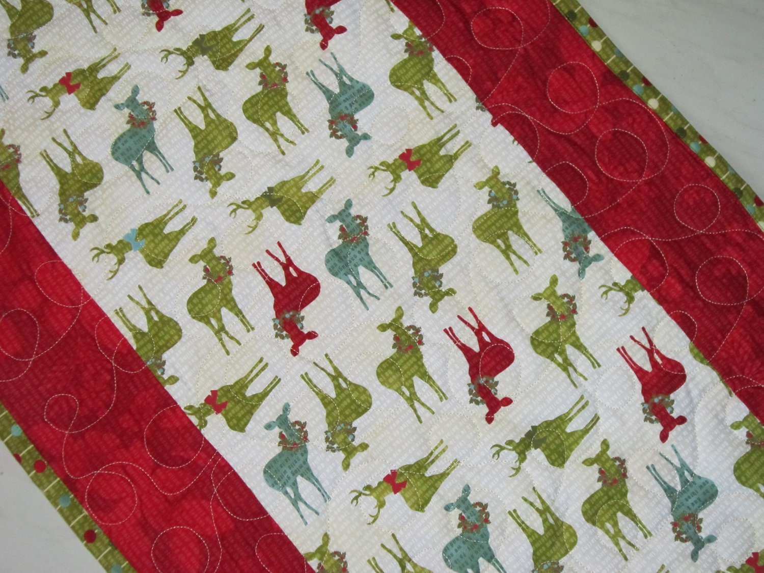 Christmas Table Runner Quilted Modern Reindeer Table by diningout