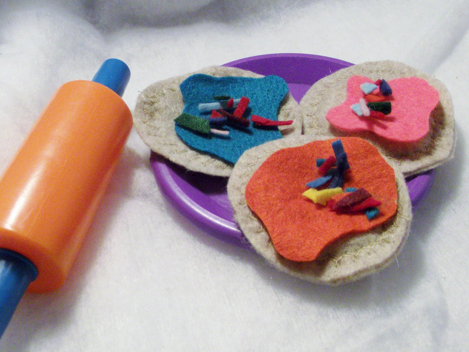 Sugar or Wheat Cookies, Dough, Sprinkles and Frosting set that are Play Felt Food
