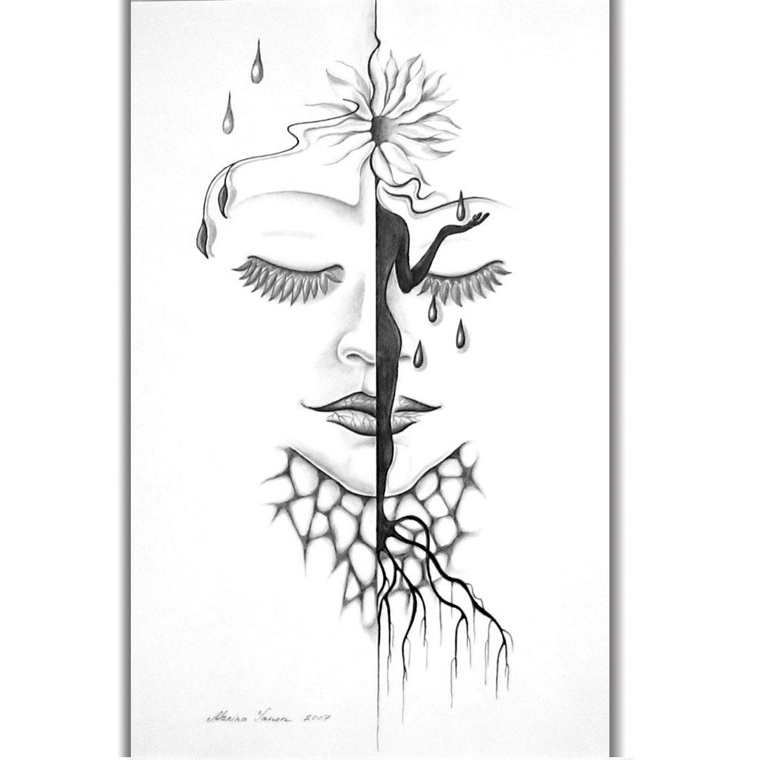 SECRET LIFE  OF a LITTLE FLOWER - original black and white pencil drawing, etsy free  shipping