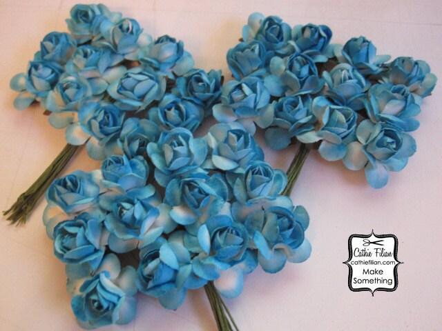 36 малых - Turquoise Голубые цветы бумаги - мини-букет - нежности