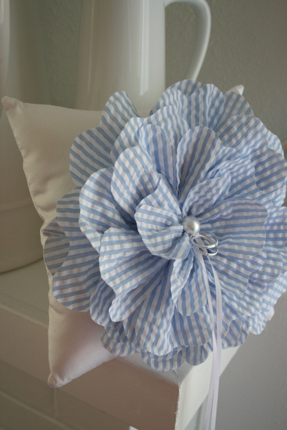 Blue Seersucker Ring Bearer Flower Pillow