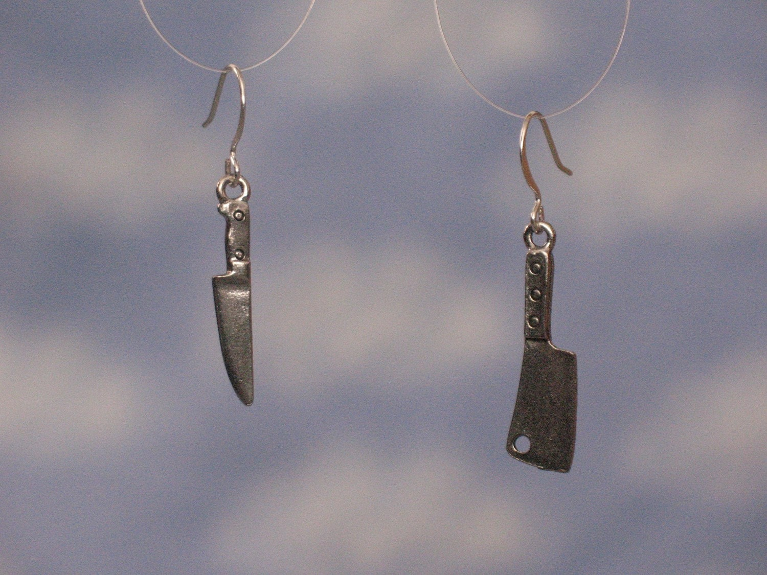 chef's knife and butcher's knife earrings