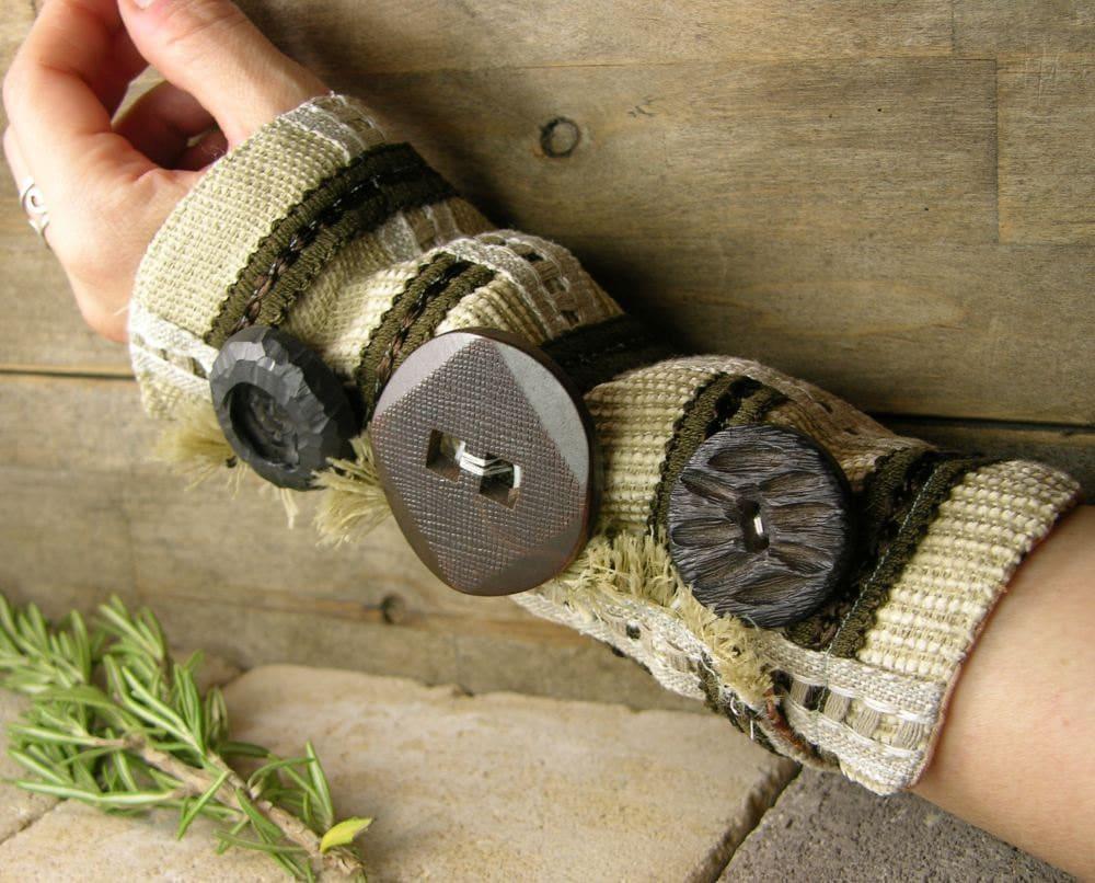 манжету экрю кофе нуга шоколадно-коричневого многократно использовать хлопковые ленты кнопки стимпанк Бохо деревенском