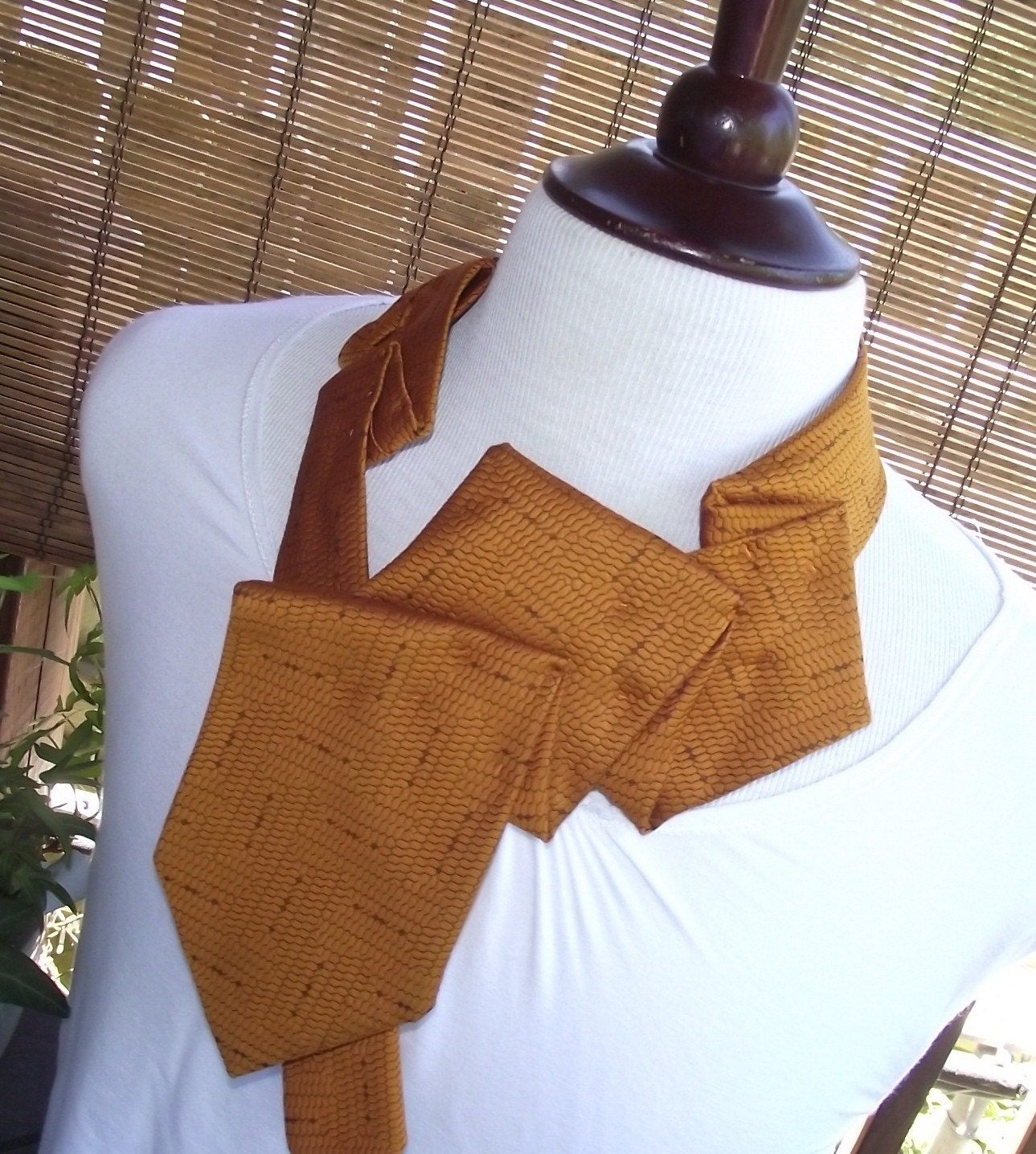 Constance- Handstiched Upcycled Vintage Necktie Necklace Collar-Honey Hive