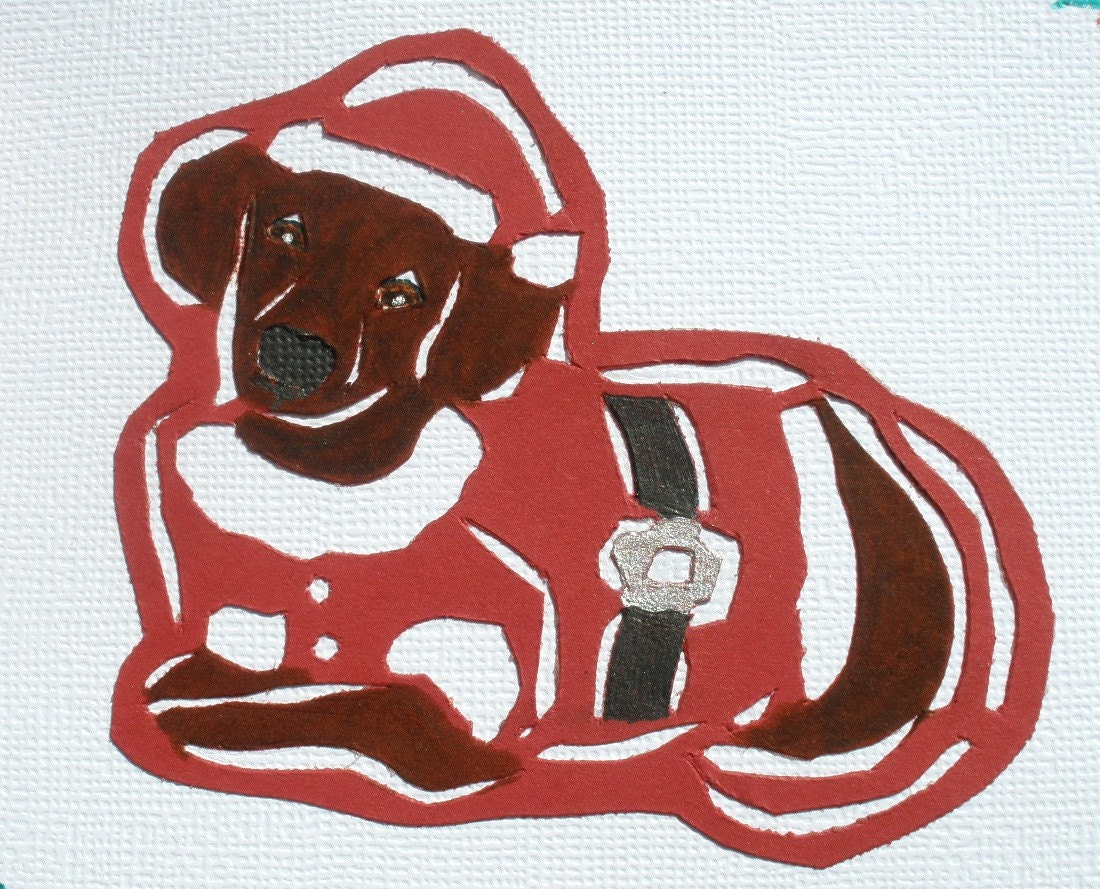 Santa Paws Dachshund Papercut Collage Card With Envelope