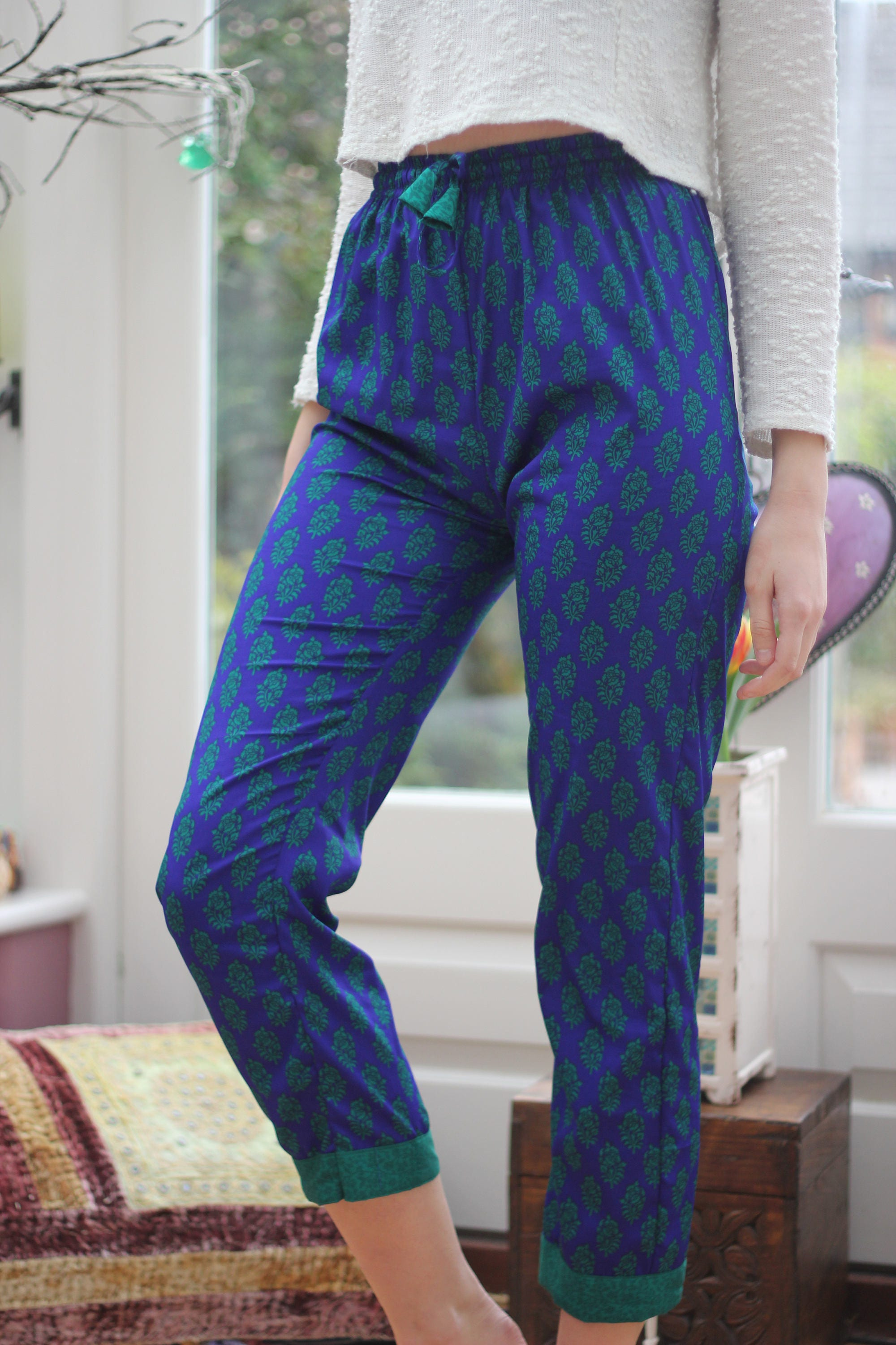 Vintage Trousers  Yoga Trousers  High waisted Pyjamas  Hippie Trousers  Travel  Festival Trousers  Cigarette Trousers  Gifts for her