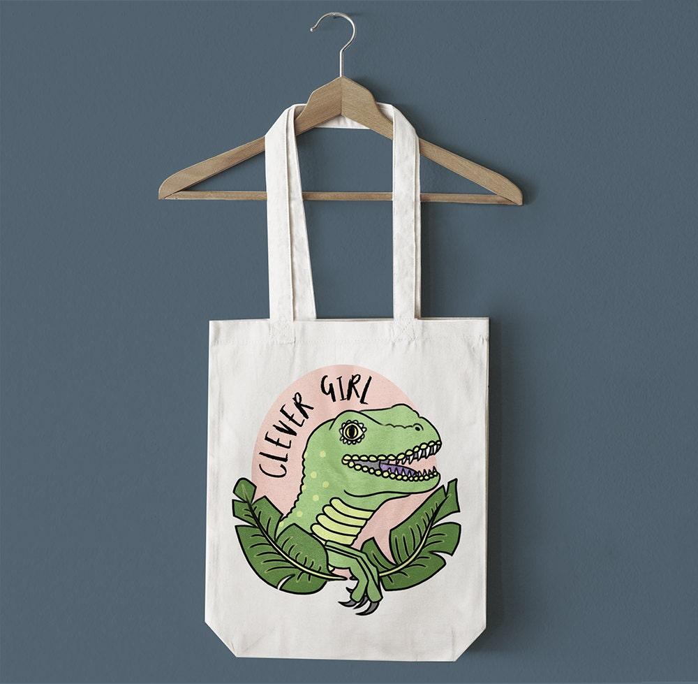 Clever Girl Dinosaur Tote Bag  Dinosaur Canvas Bag Raptor Bag Raptor Tote Bag Jurassic Park Bag Shopping Bag Animal Bag Gift For Her