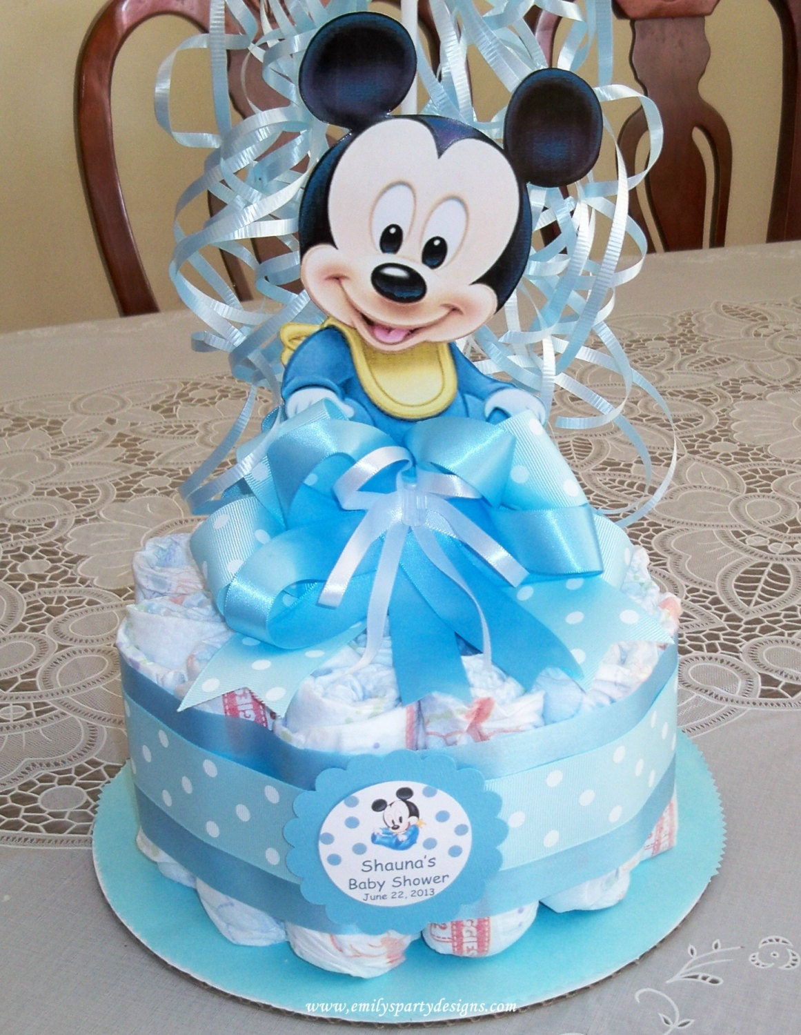 baby shower diapers centerpiece mickey mouse by designsbyemilys