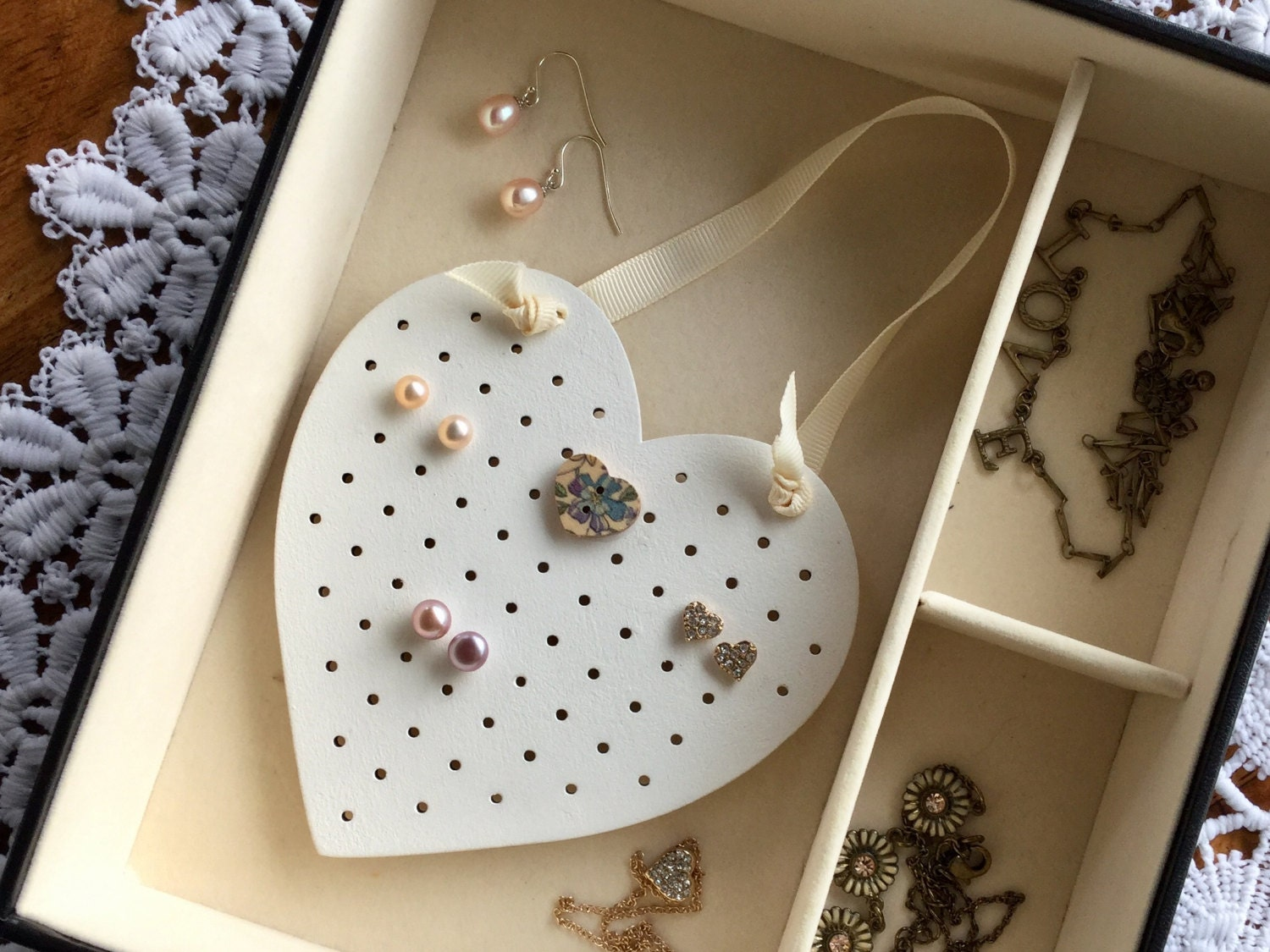 Antique White Shabby Chic Stud Earring Holder Organiser Stand For Jewellery Box Or Wall